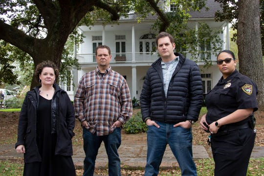 Sarah Lemos, Jereme Leonard, Ben Hansen and Detective Winifred Sylve standing in front of Allain House.
