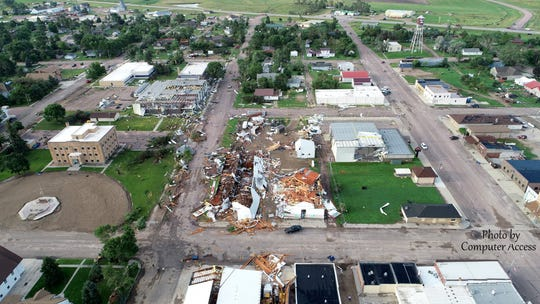 Damage to Burke, South Dakota buildings from the air on Aug. 6.