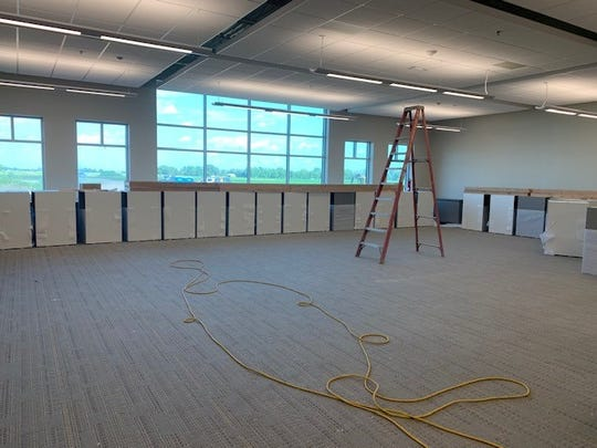 Shown is an unfinished classroom at Tea Area School District's newest campus, Venture Elementary, expected to open this fall. Weather has delayed the building's completion and work will continue through September.