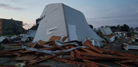 A lumberyard in Burke, South Dakota was completely destroyed in a storm on the night of Tuesday, Aug. 6, 2019.