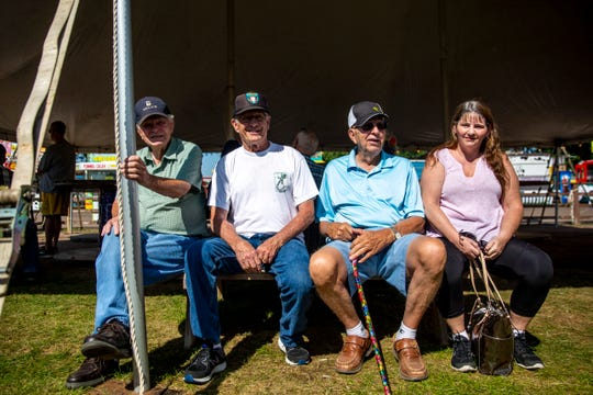 Ivan Rand, Ivan Conley, Herman Stubbe and Amy Day wait for the complimentary lunch during Ag Appreciation Day at the Sioux Empire Fair, Wednesday, Aug. 7.