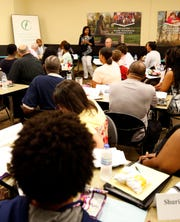 A large, diverse group came together at the Springfield Public Schools Advisory Board meeting at the Community Foundation of the Ozarks on Aug. 6, 2019 in Springfield, Mo.