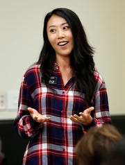 Saehee Duran, a pastor, speaks Tuesday during the equity and diversity advisory council.