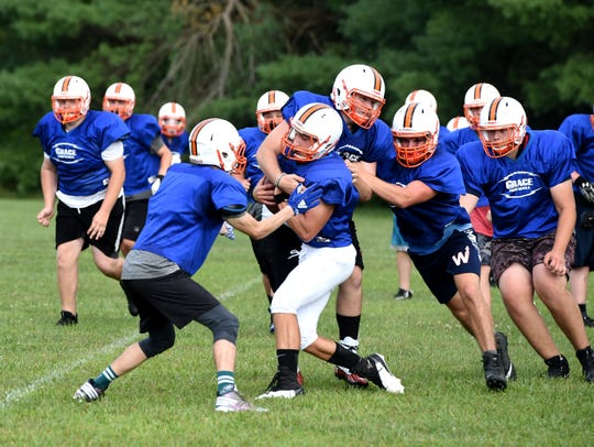 The ACTS Eagles practiced Tuesday in Staunton. The youth organization is offering tackle football for the first time this fall.