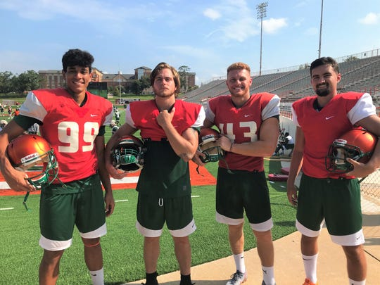 Kicker Yahia Aly (left), long snapper Christian Mastramico, punter Chris Faddoul and kicker/punter Julius Duarte add to the overall balance for the Rattlers.