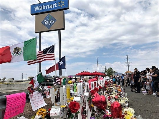 A makeshift memorial behind the Cielo Vista Walmart store, scene of a deadly mass shooting Aug. 3, 2019, has grown to more than a block. Thousands of El Pasoans are flocking to the grieving, healing hub.
