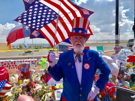 El Paso's Uncle Sam, Leon Blevins, at a memorial outside of Walmart, says he's crying and the Statue of Liberty is crying due to president Donald Trump's policies and words.