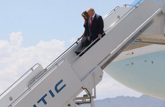 President Donald Trump first lady Melania Trump arrive in El Paso, Texas.
