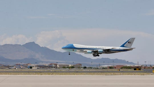 Air Force One lands Wednesday, Aug. 7, 2019, at the El Paso International Airport as President Donald Trump arrives for a visit after the Saturday, Aug. 3, 2019, mass shooting at a Walmart near Cielo Vista Mall.