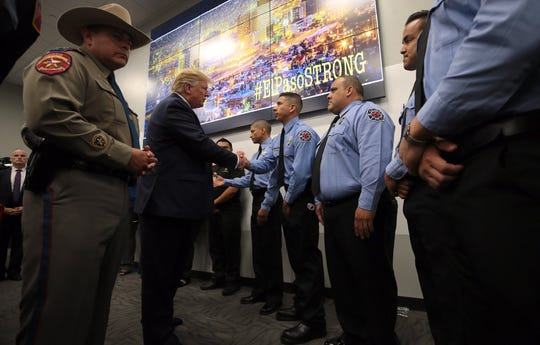 President Donald Trump met Wednesday, Aug. 7, 2019, with first responders, police and other members of law enforcement at the Emergency Operations Center at 6055 Threadgill Ave. in Northeast El Paso.