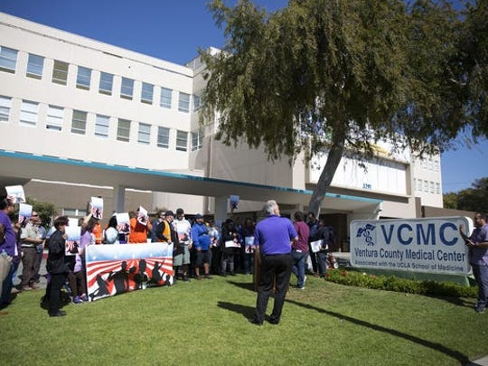 Dozens of union members rallied at the Ventura County Medical Center in February 2018 in response to the Janus v. AFSCME case being heard by the Supreme Court.