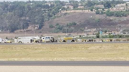 This was the scene a few minutes before 2 p.m. Wednesday after a plane crashed at the Camarillo Airport.