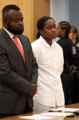 Z'inah Brown is sentenced to 17 years in prison for the stabbing death of New Rochelle High School student Valaree Schwab last year, Aug. 7, 2019 at Westchester County Courthouse. Her attorney Peter St. George Davis stands beside her.