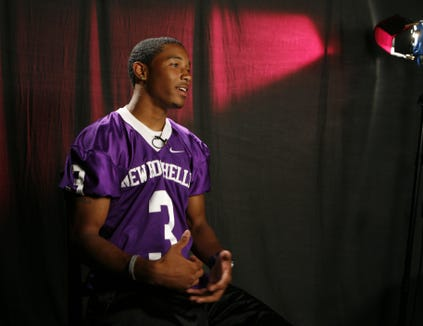 Jordan Lucas from New Rochelle High School is pictured as the high school football players talk about being part of the Super 11 team, Aug. 31, 2010 at The Journal News in White Plains.
