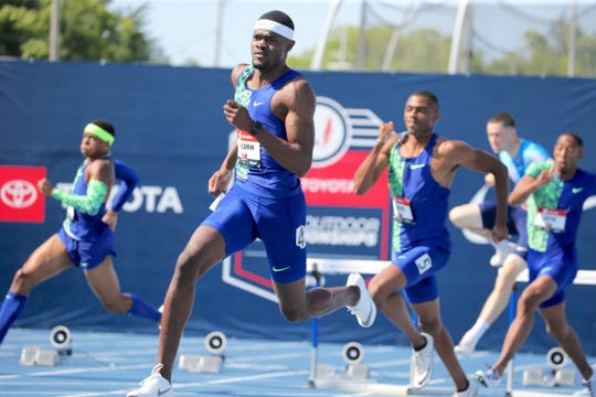 Former Mount Vernon High and UCLA and USC standout Rai Benjamin competes in the 400 hurdles at the 2019 USA T& F Outdoor Championships in Iowa. Benjamin, who's considered a favorite to medal at the 2020 Olympics, won the race to earn a trip to this fall's IAAF World Championships in Qatar.