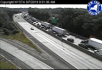 Traffic on northbound Interstate 95 at Exit 21 in Port Chester is badly backed up as a result of a tractor-trailer crash on I-95 near Exit 2 in Greenwich, Connecticut, Wednesday, Aug. 7, 2019, as seen in a New York state Thruway traffic camera image.