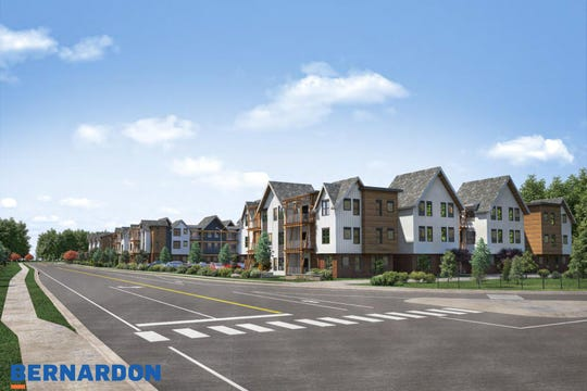 A rendering of the proposed apartment buildings from Hillside Road near Apple Road.