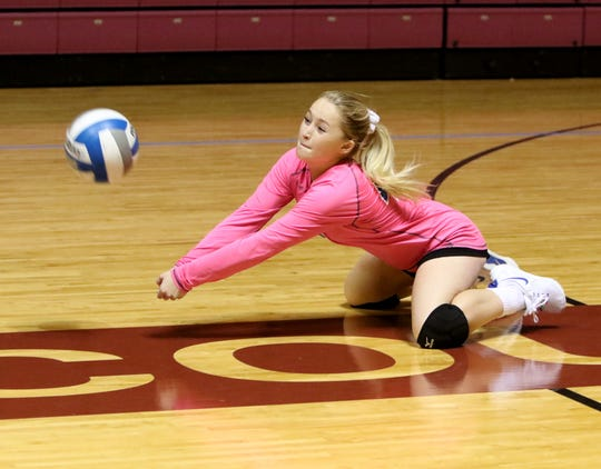 Windthorst's Camryn Latham receives the short serve against Holliday Tuesday, Aug. 6, 2019, at Battle in the Dome hosted by Midwestern State University in D.L. Ligon Coliseum.