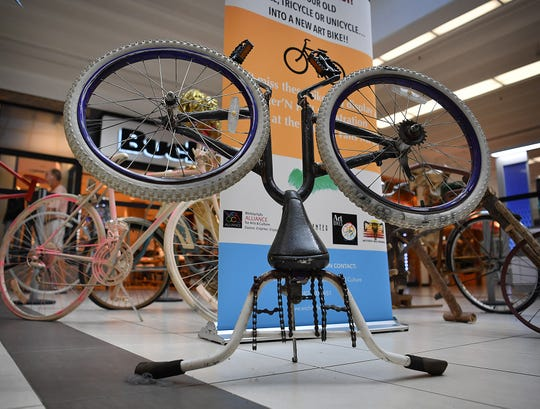 Eight unique bicycle sculptures on on display at Sikes Senter Mall for the 4th Annual Art Bikes show. They will be moved to the MPEC Exhibit Hall on August 21st for the Hotter 'N Hell Hundred.