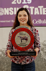 Lauren Siemers of Kiel was the winner of the John Klossner Trophy as the WI State Fair Dairy Premier Exhibitor Contest Champion.