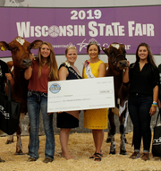 The Supreme Champion Cow of the 2019 Wisconsin State Fair Junior Dairy Show was the Champion Red & White Cow – Mead-Manor Def Adeline-Red – exhibited by Megan Moede of Algoma.