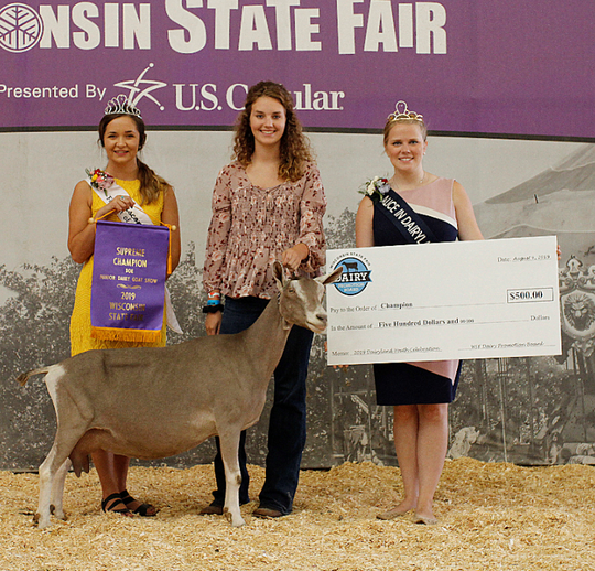 The Best Doe in the Show from the 2019 Wisconsin State Fair Junior Dairy Goat Show was exhibited by Taelyn Smith of Elkhorn, while the Supreme Champion Showperson was 18-year-old Helayna Nerby of Holmen.