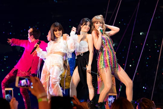 Charli XCX, Camila Cabello and Taylor Swift perform during the 2018 Reputation Tour on May 8, 2018, in Glendale, Arizona.
