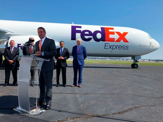 Tennessee Gov. Bill Lee addresses reporters at a news conference announcing an investment by shipping giant FedEx Corp. of $450 billion to help modernize its Memphis hub on Friday. Aug.2, 2019 in Memphis, Tenn.