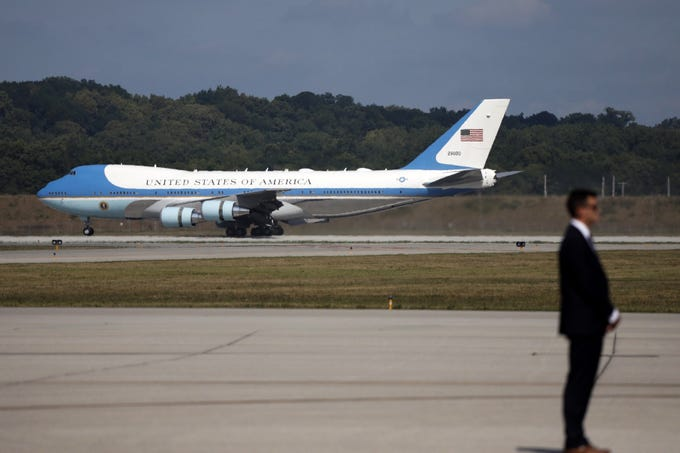 Air Force One lands at Wright-Patterson Air Force Base on Aug. 7, 2019, as President Donald Trump and First Lady Melania Trump visits Dayton, Ohio, following the mass shooting that left nine dead and 27 injured early Sunday morning.