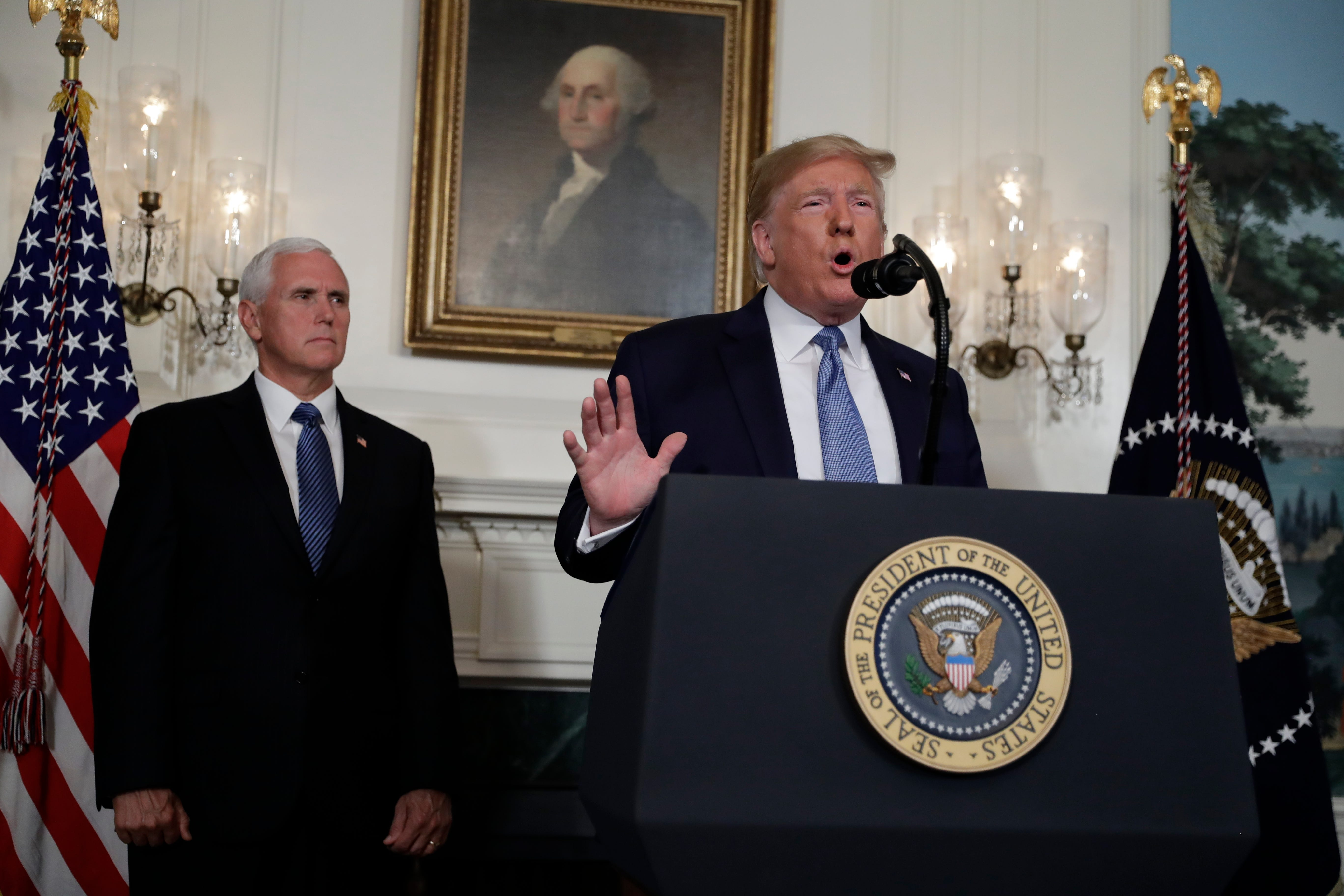 President Donald Trump speaks Monday, Aug. 5, 2019, about the mass shootings in El Paso and Dayton, Ohio, at the White House.
