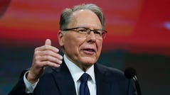 National Rifle Association Executive Vice President Wayne LaPierre speaks at the NRA Annual Meeting of Members in Indianapolis on April 27, 2019.