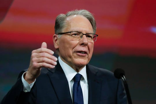 Wayne LaPierre speaks at the NRA annual Meeting of Members in Indianapolis on April 27, 2019. He is now president of the NRA.