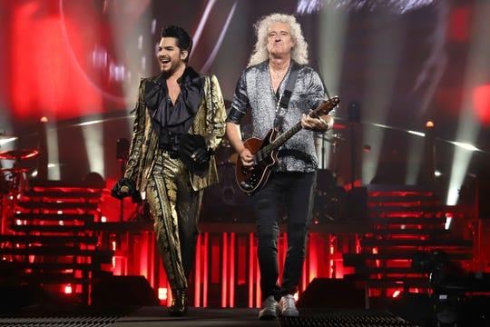 Adam Lambert, left, and Brian May