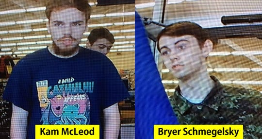 This image released by The Royal Canadian Mounted Police on July 23, 2019 shows Kam McLeod, 19, and Bryer Schmegelsky, 18, from Port Alberni, British Columbia, who are considered main suspects in the slayings of 23-year-old Australian Lucas Fowler, and his American girlfriend Chynna Deese, 24, who were discovered shot to death on July 15 along the side of the Alaska Highway near Liard Hot Springs, British Columbia.