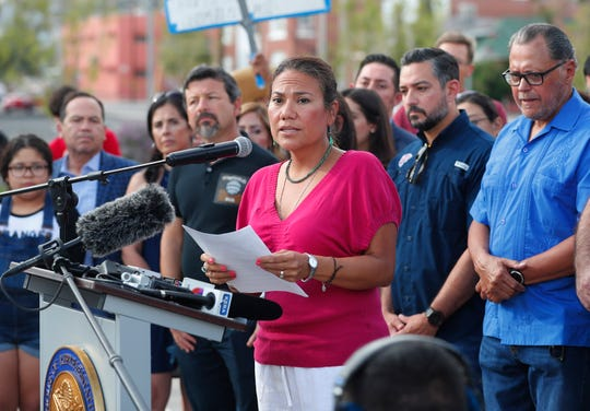 Rep. Veronica Escobar, D-El Paso, speaks to the media on Aug. 4 before a march at Houston Park in El Paso.