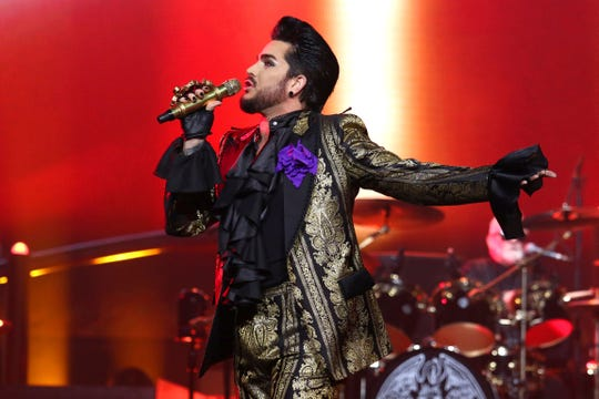 Adam Lambert leads Queen at the band's New York show on August 7, 2019.