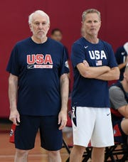 Team USA head coach Gregg Popovich (left) and assistant coach Steve Kerr of the 2019 USA Men's National Team look on during a practice session.