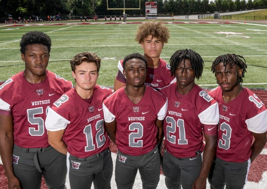 Westside feels its pieces are in place with Nigajuan Manzel (51), left, Blair Garner (12), Jr Smith (2), Jayden Ramsey (88), Jibril Geer (21) and Tyson Lewis (13).
