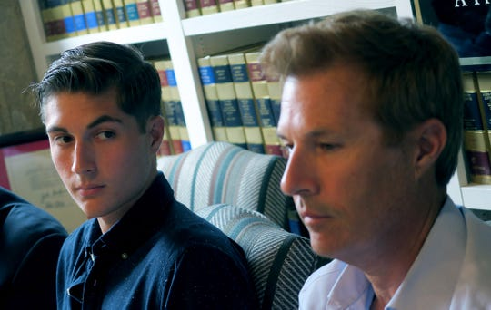 On the 5th Anniversary of the signing of the Sean and David Goldman International Child Abduction Prevention and Return Act, Sean Goldman looks to his father David during a news conference in Red Bank Thursday, August 8, 2019.