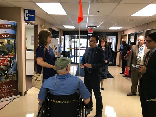 Rep. Andy Kim talks to veterans at the Veterans Affairs clinic in Brick on Aug. 7, 2019, which is slated to be replaced with a larger facility.