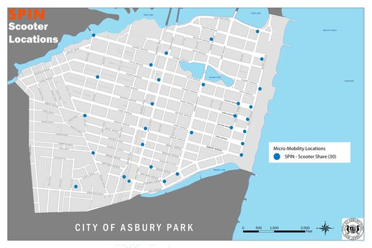 A map of initial scooter locations in Asbury Park