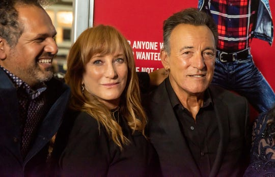 Patti Scialfa and Bruce Springsteen with Sarfraz Manzoor, left.