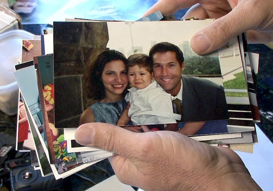 Photographs show David and Bruna Goldman along with their son Sean as a family in 2008.