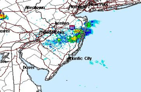 The National Weather Service has issued a severe thunderstorm warning for parts of Monmouth and Ocean counties.