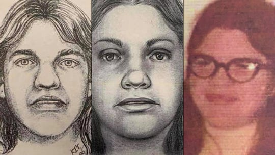 Artists renderings in 1990, left, and 2019 of murder victim Debra Jackson.