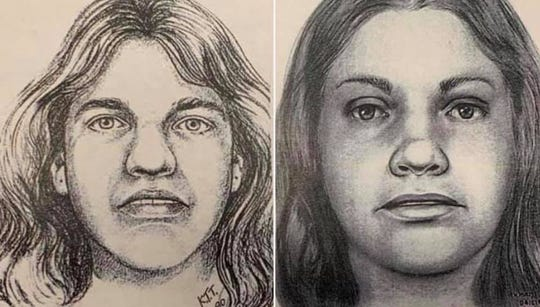 "Renderings in 1990, left, and 2019 of a Texas woman found dead on Oct. 31, 1979 near Georgetown, Texas. Williamson County Sheriff's Office authorities announced Wednesday that the victim, previously known as ""Orange Socks"" for the only clothing on her body, was identified as Debra Jackson of Abilene."