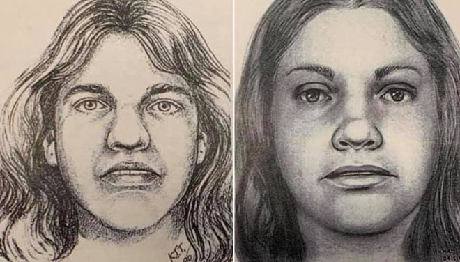 """Renderings in 1990, left, and 2019 of a Texas woman found dead on Oct. 31, 1979 near Georgetown, Texas. Williamson County Sheriff's Office authorities announced Wednesday that the victim, previously known as """"Orange Socks"""" for the only clothing on her body, was identified as Debra Jackson of Abilene."""