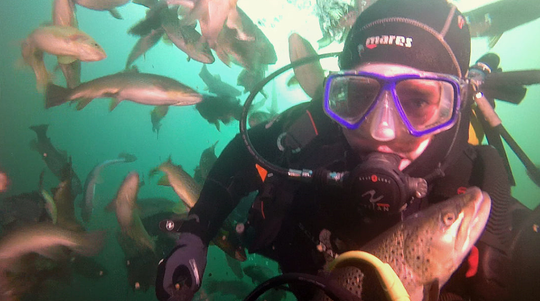 """Robert Rininger of Charlotte, instructor at Sub Aquatic Scuba Service in Springfield, takes a photo with trout while diving the Gilboa Stone Quarry in Gilboa, Ohio on July 24, 2019. Rininger took the photo """"after opening a bag of fish food and having the trout dive bomb me."""""""