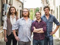 The Travers Brothership, featuring Eric Travers (left), Josh Clark (center, left), Ian McIsaac (center, right) and Kyle Travers, were named one of the 10 best things seen at FloydFest 2019 by Rolling Stone.