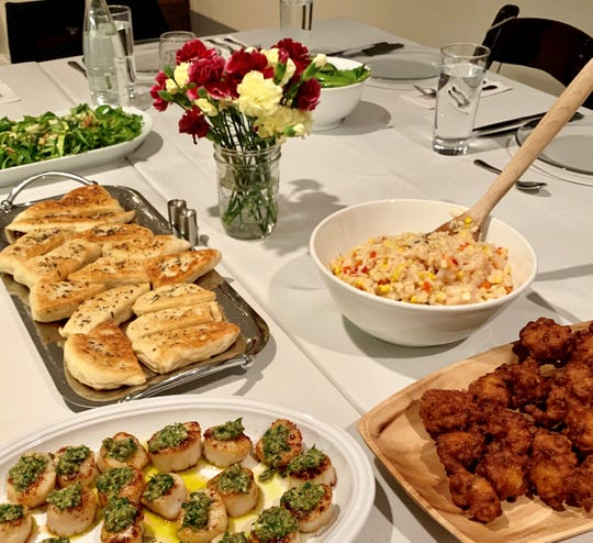 In no time, the Gathering Table was filled with treats, including fresh-made bread, risotto, scallops and lobster fritters.